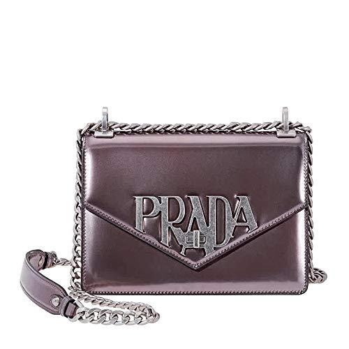 Prada Leather Crossbody Bag- Glossy Grey