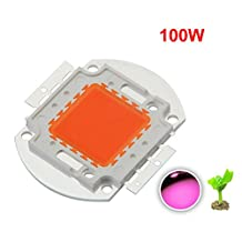 YXO High Power Led Chip 100W Full Spectrum Plant Grow Light (380nm-840nm / 3000mA / DC 30V-34V / 100 Watt) SMD COB Emitter Diode Components 100 W Bead for DIY Hydroponic Flowers Growing Lamp (100)