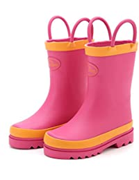 Toddler Little Kids Girls Rubber Rain Boots Waterproof Shoes Pink with Easy-On Handles