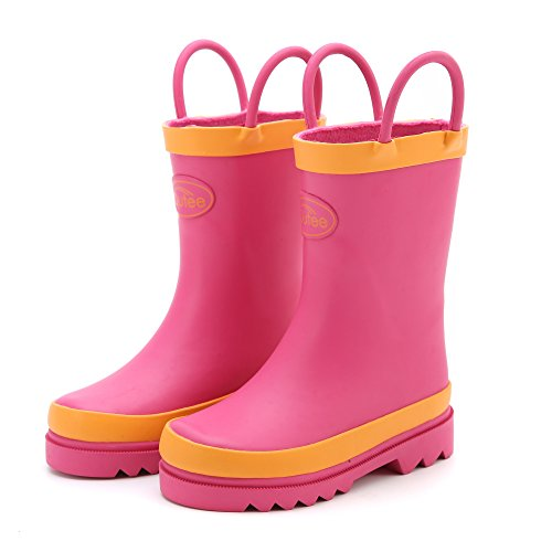Outee Kids Girls Rain Boots Rubber Waterproof Shoes Pink In Solid Color With Easy On Handles Removable Insoles Anti-Slippery Durable Sole With Grip (Size 1)