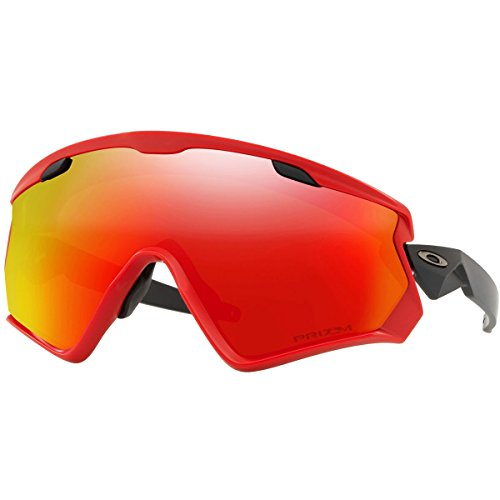 Oakley Men's Wind Jacket 2.0 Non-Polarized Iridium Rectangular Sunglasses, Viper Red, 0 mm by Oakley
