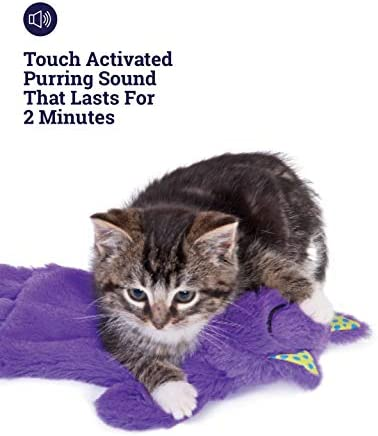 Petstages Purr Pillow Cat Toy For Nightime Play & Calm Comfort Featuring Soothing Noisemaker, Soft Plush Material, Medium, Purple 5