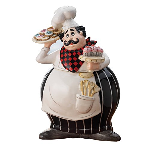 American Atelier 5916-JAR-GB Buon Appetito Chef Canister Ceramic Chic Design With Lid for Cookies, Candy, Coffee, Flour, Sugar, Rice, Pasta, Cereal & More Black and White, 8.75x7x12.5