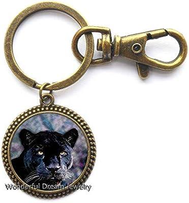 Llavero con diseño de pantera negra – Llavero con imagen de animal ...