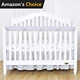 TILLYOU Padded Baby Crib Rail Cover Protector Safe Teething Guard Wrap for Long Front Crib Rails(Measuring up to 4'' Folded), 100% Silky Soft Microfiber Polyester, Reversible, White/Pale Gray