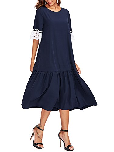 Verdusa Women's Ruffle Hem Tunic Flowy Swing Loose T-Shirt Dress Navy XS - Long Ruffle Tiered Dress