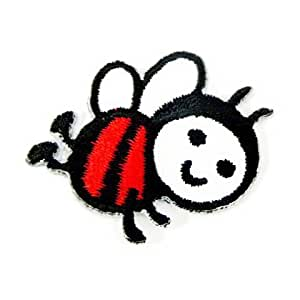 "Baby Bumble Bee Animal Honey Red 1.6"" Appliques Hat Cap Polo Backpack Clothing Jacket Shirt DIY Embroidered Iron On / Sew On Patch"