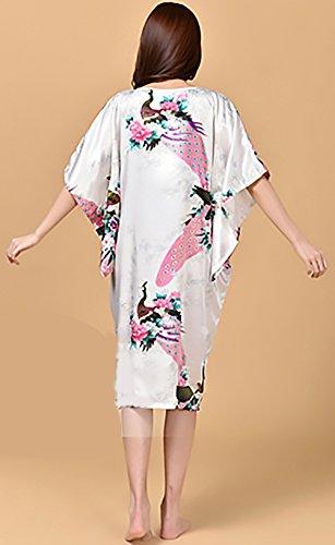 Pigiama Lunga Vestito Notte Manica Classiche Rotondo Pipistrello Collo Sciolto Vintage Da Bianca Donna Unique Camicia Da Estivo Moda Floreale Stampato rR6q5rCwx