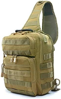 HONGHUIKE Sling Backpack Military Sling Chest Pack Bag Sling Shoulder Bag Crossbody Mochilas for la Caza Camping Trekking (Color : Caqui): Amazon.es: Hogar