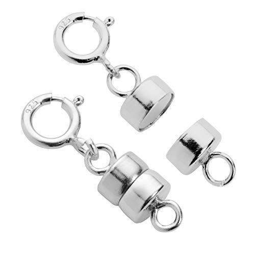 Everyday Elegance Jewelry Sterling Silver Round Magnetic Clasp Converter for Necklace or Bracelet with Spring Ring, 2 Clasps ()