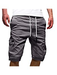 VEZAD Men Personality Drawstring Shorts Casual Bandage Pants Multi Pocket Sports Loose Sweatpants