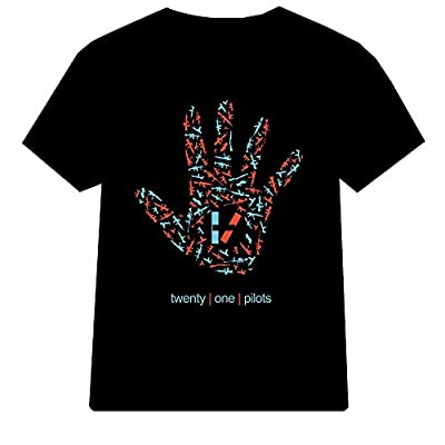 five finger twenty one pilots logo for Men T shirt (Large, Black)