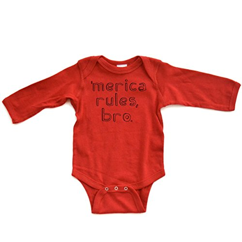 [Apericots Merica Rules Bro Funny Long Sleeve Baby Bodysuit] (Trailer Trash Outfits)