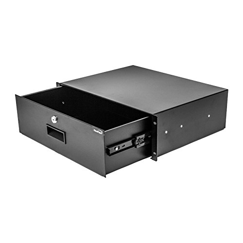(NavePoint Server Cabinet Case 19 Inch Rack Mount DJ Locking Lockable Deep Drawer with Key 3U)