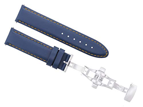 Ewatchparts 18-19-20-22-24MM Leather Watch Band Strap Smooth Clasp for PATEK Philippe Blue 2