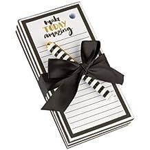"""Make TODAY Amazing"" Memo Pad, Large, 7"" L x 3.5"" W, Lined, w/ Pen, Black/White"