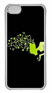 Customized iphone 5C PC Transparent Case - The Green Flower Girl Personalized Cover