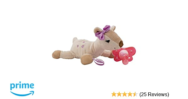 Dr. Browns Lovey Pacifier and Teether Holder, 0 Months Plus, Deer with Pink Pacifier