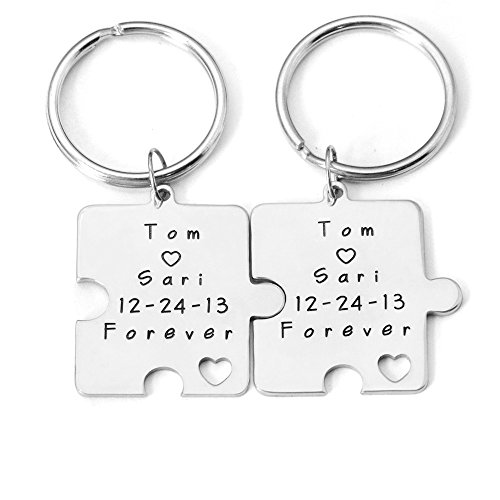 Personalized Key Chain, Puzzle KeyChain, Custom Names & Date Keychain, Personalized Key Ring, Couple Key Chains Set, Couples Valentines Gifts