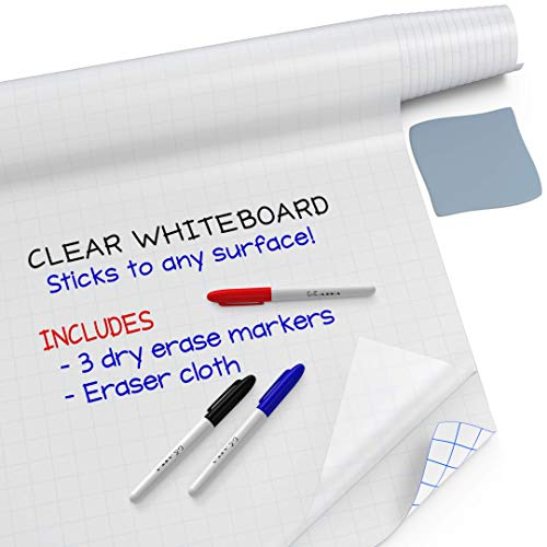 Kassa Clear Whiteboard Sticker (6.5' Feet Transparent Decal Extra Large) 3 Dry Erase Markers & Eraser Cloth Included - Erasable Film Board for Wall - Self Adhesive Contact Paper Roll Wallpaper (Erase Dry Vinyl)