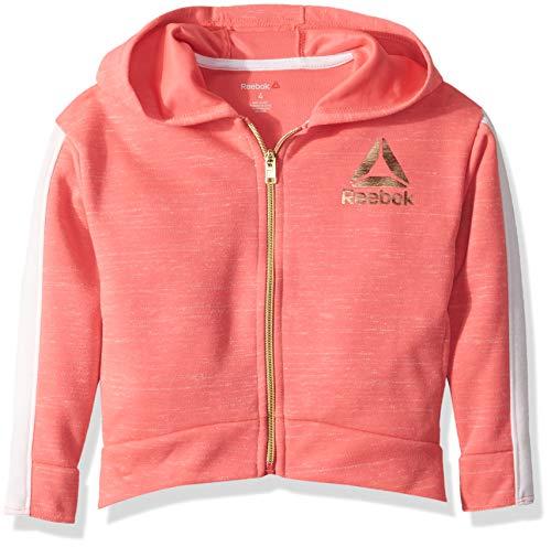 Reebok Girls' Big Double Knit Drop Shoulder Hooded Jacket, Sunkist Coral, 14/16 (Orange Reebok Hoodie)