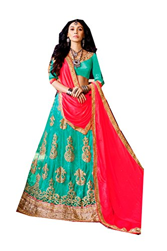 Da Facioun Womens Turquoise Color Striking Lehenga Choli With Embroidery Work 80376 80376