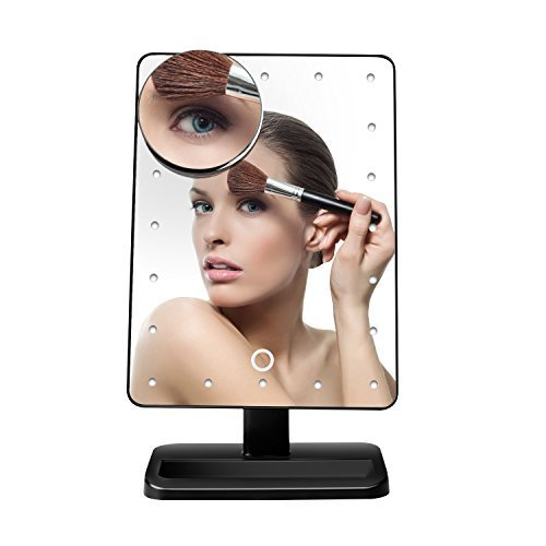 Fairycat LED Lighted Makeup Mirror,Vanity Mirror Touch Screen Dimming, Detachable 10X Magnification Spot Cosmetic Mirror, 180° Swivel Rotation
