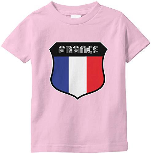Amdesco France Crest French Flag Infant T-Shirt, Pink 18 Month