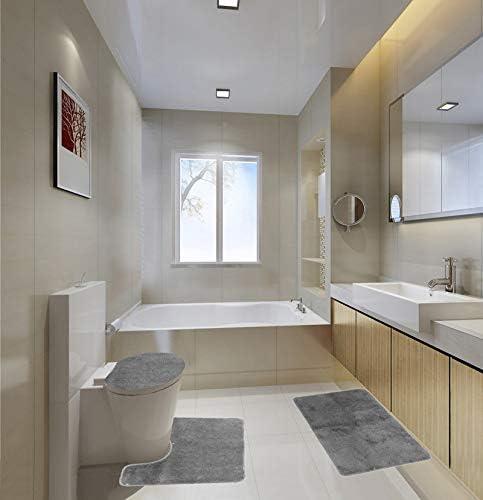Amazon Com Gorgeoushomelinendifferent Colors 3 Piece Bathroom Set Bath Mat Contour And Lid Cover With Rubber Backing 6 Silver Home Kitchen