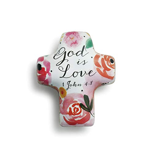 (DEMDACO God is Love Scripture Floral Pink 2 x 2 Resin Stone Artful Cross Token Figurine )