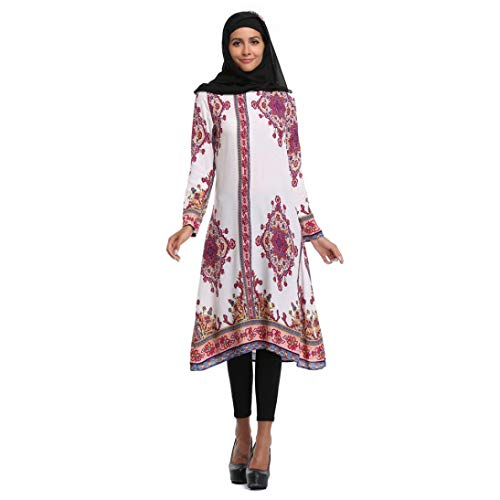 Besooly Women Plus Size Summer Dress Islamic Printing Long Sleeves Plus Size Muslim Middle East Long - Wool Perfect Outerwear