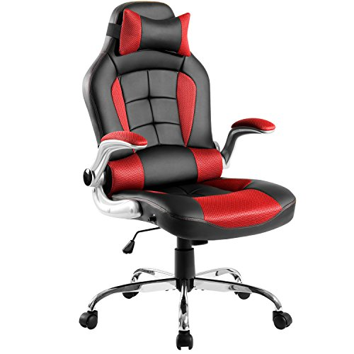 Merax High Back Ergonomic Racing Style PU Leather Office Chair Swivel Chair Computer Desk Napping Chair with Headrest and Lumbar Support (Red)