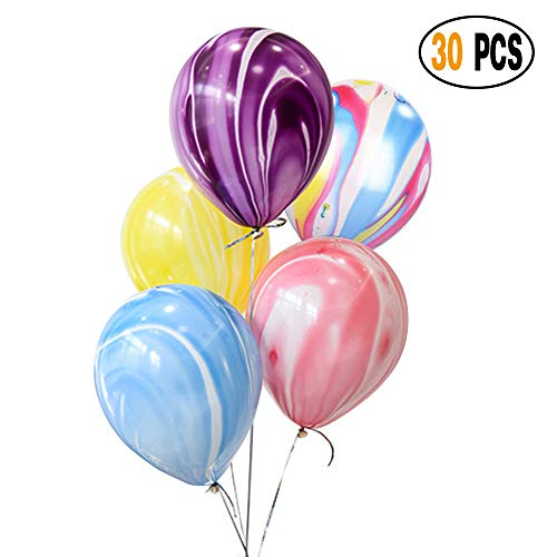 DIvine 30 Pcs/lot Agate Marble Latex Balloons kit, Color Marble Tie Dye Swirl Effect Balloons For Wedding Birthday Baby Showers Christmas Festival Ceremony and Party Premium Quality Decoration, ()
