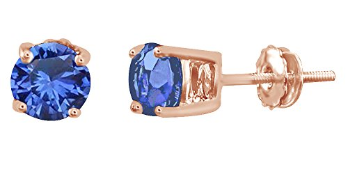 Round Cut Simulated Blue Sapphire Stud Earrings In 14k Solid Rose Gold by AFFY