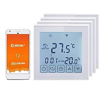Beok TDS23WIFI-EP - Termostato digital inalámbrico para calefacción eléctrica bajo el suelo, con control remoto por teléfono móvil, color blanco., blanco, ...