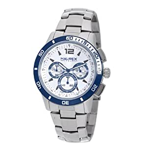 Haurex Italy Men's 0A355USS Premiere Silver Dial Chrono Tachymeter Stainless Steel Watch