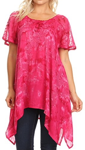 - Sakkas 18725 - Kiara Womens Asymmetrical Marble Dye Summer Top Blouse Short Sleeve Lace - Fuschia - OS