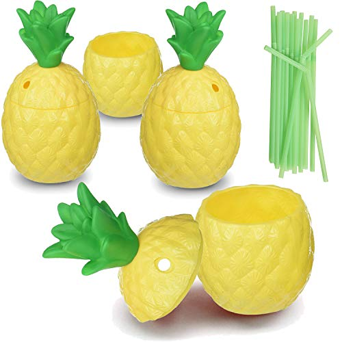 Hogue WS LLC Plastic Pineapple Luau Cups for Fun Hawaiian Children's Parties – Bulk 12 Pack – Includes Straws – Tiki Beach Theme Party Supplies (1 Dozen) ()