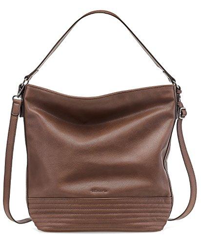 TAMARIS CRIZIA Damen Handtasche, Hobo Bag, Henkeltasche, 39x35x14 cm (B x H x T), 4 Farben: mocca braun, taupe, schwarz oder pewter, Farbe:mocca comb