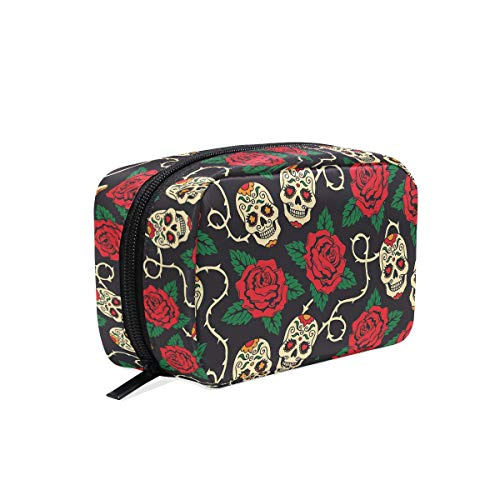 Sugar Skulls with Roses Makeup Bag Cosmetic Bag Toiletry Travel Bag Case for Women, Red Flower Day of The Dead Portable Organizer Storage Pouch Bags Box -