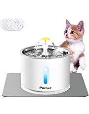Cat Water Fountain Stainless Steel, LED Indicator 81oz/2.4L Automatic Pet Water Fountain with 4 Replacement Filters & 1 Silicone Mat for Cats, Dogs, Multiple Pets (with Flower & Water Level Window)