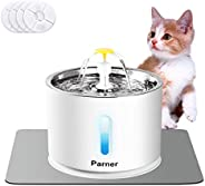 Cat Water Fountain Stainless Steel, LED Indicator 81oz/2.4L Automatic Pet Water Fountain with 4 Replacement Fi