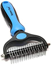 Maxpower Planet Pet Grooming Tool - Dematting and Shedding Brush Undercoat Rake Comb for Dogs and Cats,Double Sided and Extra Wide,Blue