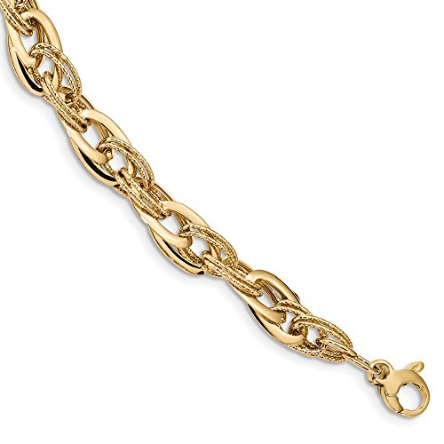 14K Yellow Gold Polished and Textured Fancy Link 8in Bracelet