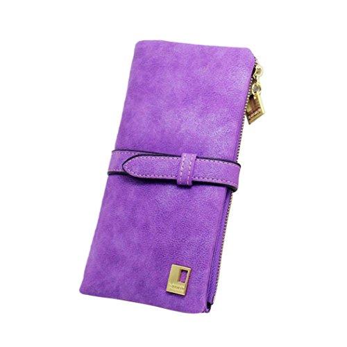 Prettymenny Long Card Wallet ,New Fashion Lady Women Leather Clutch Wallet (Purple)