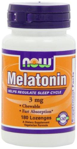 NOW Foods Melatonin 3mg Chewable, 180-Lozenges