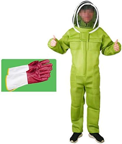 養蜂スーツ/蜂防護服、ベール付き、帽子付き換気用コンフォート - 初心者および商用の養蜂家向け,Green-M