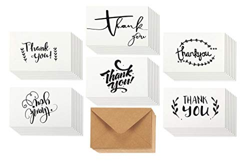 Thank You Cards with Glue Envelopes 36-Count, Kraft Paper Envelopes - Blank on The Inside, Handwritten Style - 4 x 6 Inches - Great for Business, Wedding, Graduation, Baby/Bridal Shower, Professional by SJ Products (Image #8)