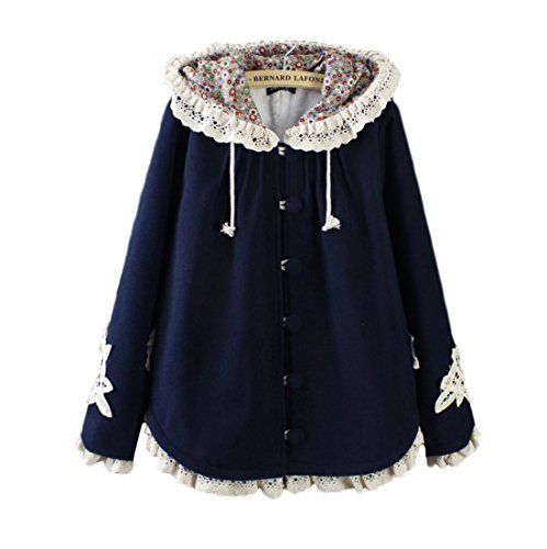 Aza Boutique Girl's Cute Lace Trim Tweed Loose Hooded Cape