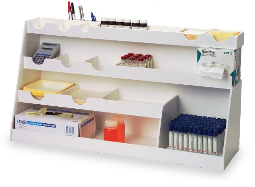 (TrippNT 50377 White PVC Plastic BenchBooster Workstation, 21 Compartments, Extra Large, 30